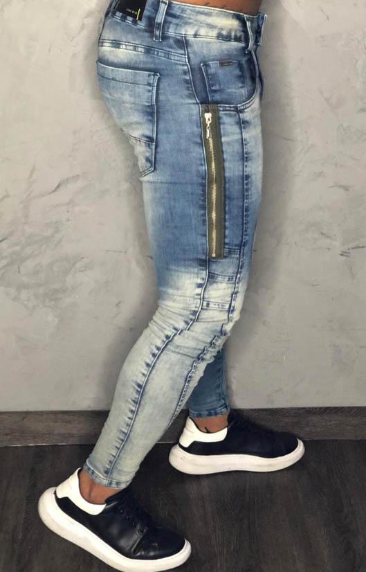 Calça Codi Skinny Azul Jeans Detalhe Ziper Lateral  - Harpia Moda - Moda Masculina & Acessórios