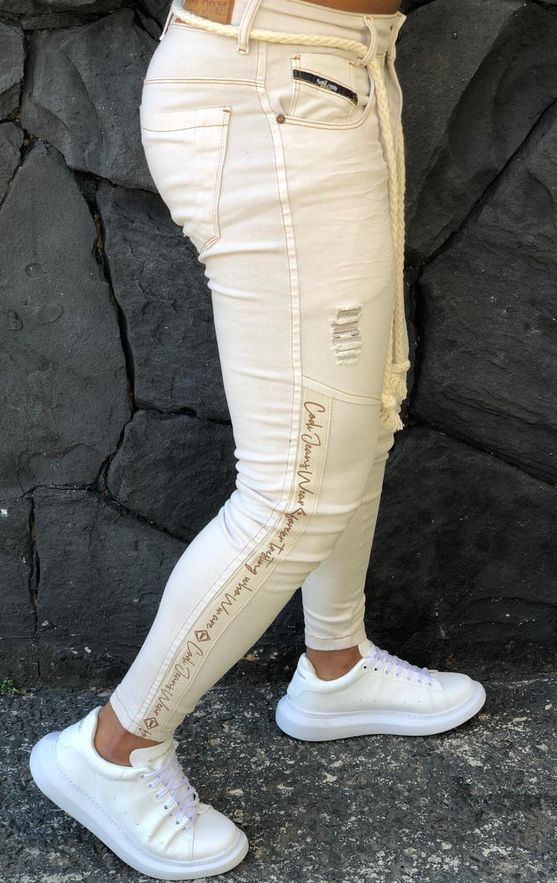 Calça Masculina Codi Skinny Bege Deluxe  - Harpia Moda - Moda Masculina & Acessórios