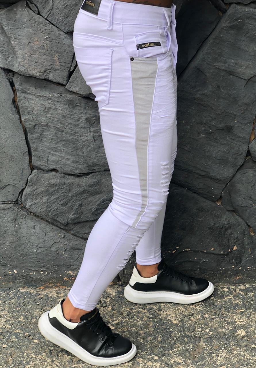 Calça Masculina Codi Skinny Branca Detail Line Gray  - Harpia Moda - Moda Masculina & Acessórios