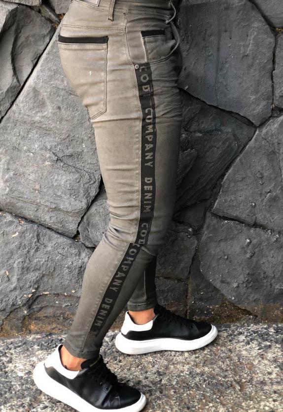 Calça Masculina Codi Skinny Cinza Detalhe Faixa  - Harpia Moda - Moda Masculina & Acessórios