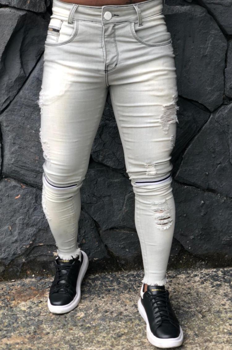 Calça Codi Skinny Cinza Detalhe Joelho Jeans  - Harpia Moda - Moda Masculina & Acessórios
