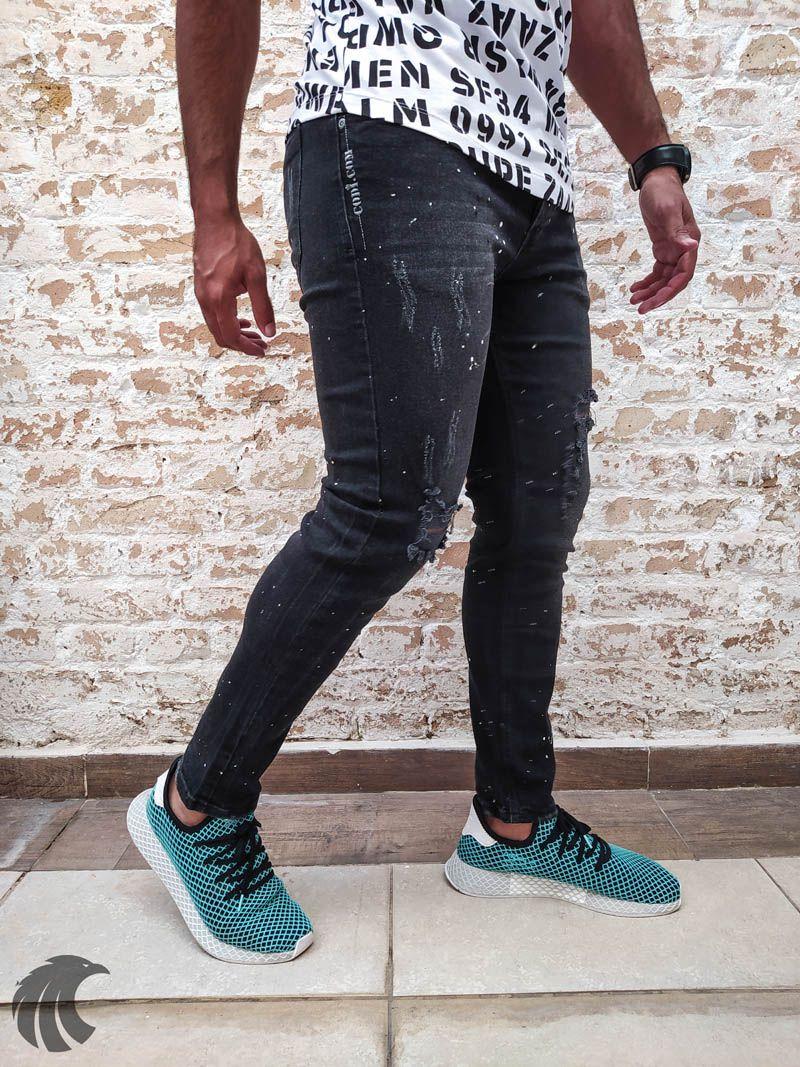 Calça Codi Skinny Destroyed Spattered  - Harpia Moda - Moda Masculina & Acessórios