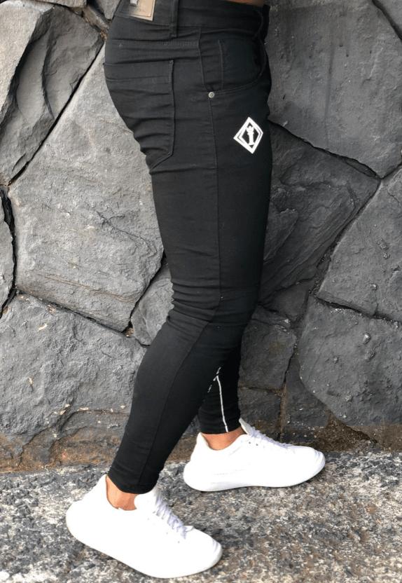Calça Masculina Codi Skinny Preta com Detalhes Brancos  - Harpia Moda - Moda Masculina & Acessórios