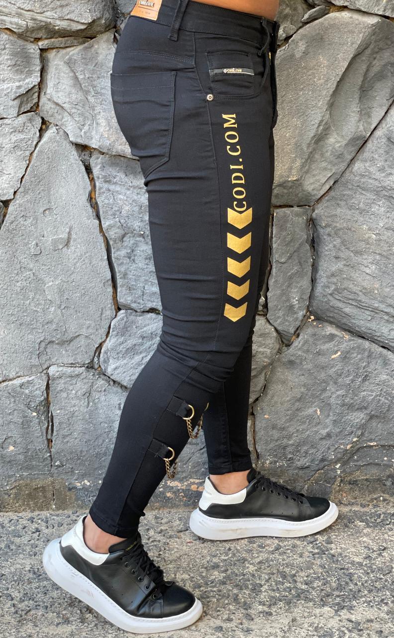 Calça Codi Skinny Preta Jeans Argola  - Harpia Moda - Moda Masculina & Acessórios