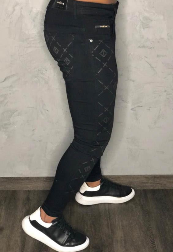 Calça Codi Skinny Preta Jeans Detalhe Quadriculado  - Harpia Moda - Moda Masculina & Acessórios