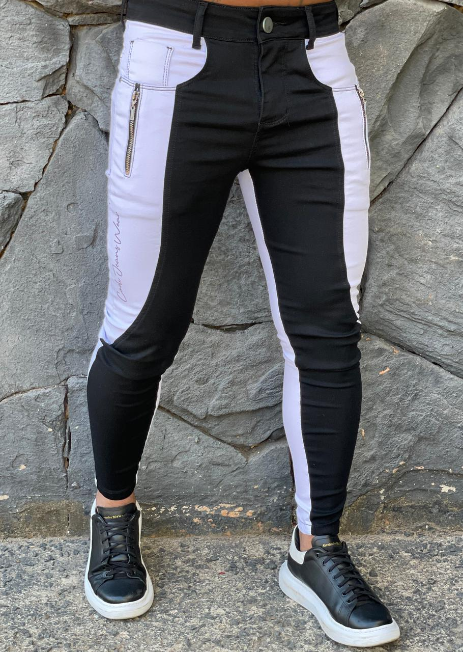 Calça Codi Skinny Preta Jeans Duo Branca  - Harpia Moda - Moda Masculina & Acessórios