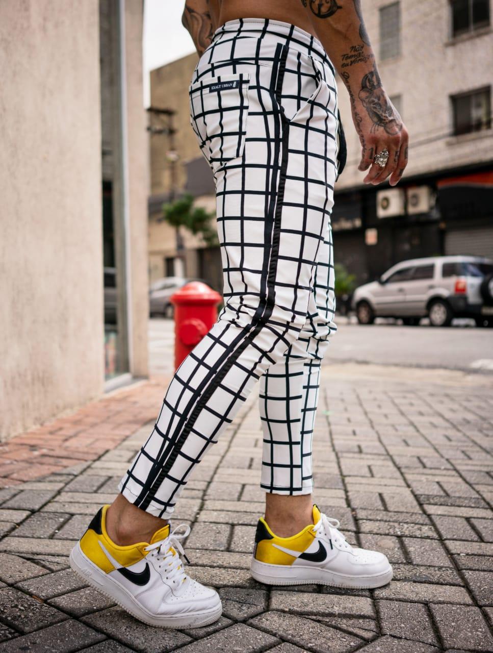 Calça Exalt Urban Branca Detalhe Quadrulado  - Harpia Moda - Moda Masculina & Acessórios