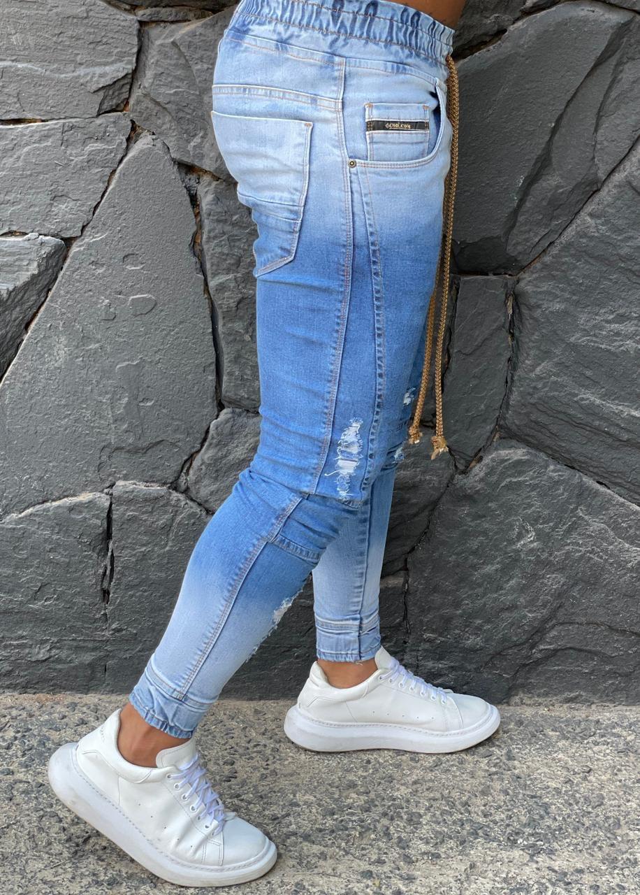 Calça Jogger Codi Jeans Skinny Azul Claro  - Harpia Moda - Moda Masculina & Acessórios