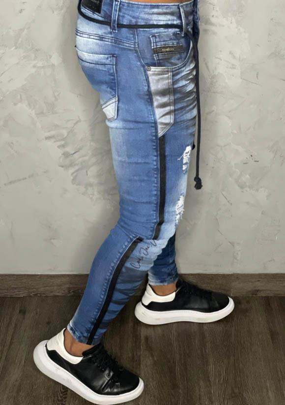 Calça Jogger Codi Jeans Skinny Azul Two Faixa Lateral  - Harpia Moda - Moda Masculina & Acessórios