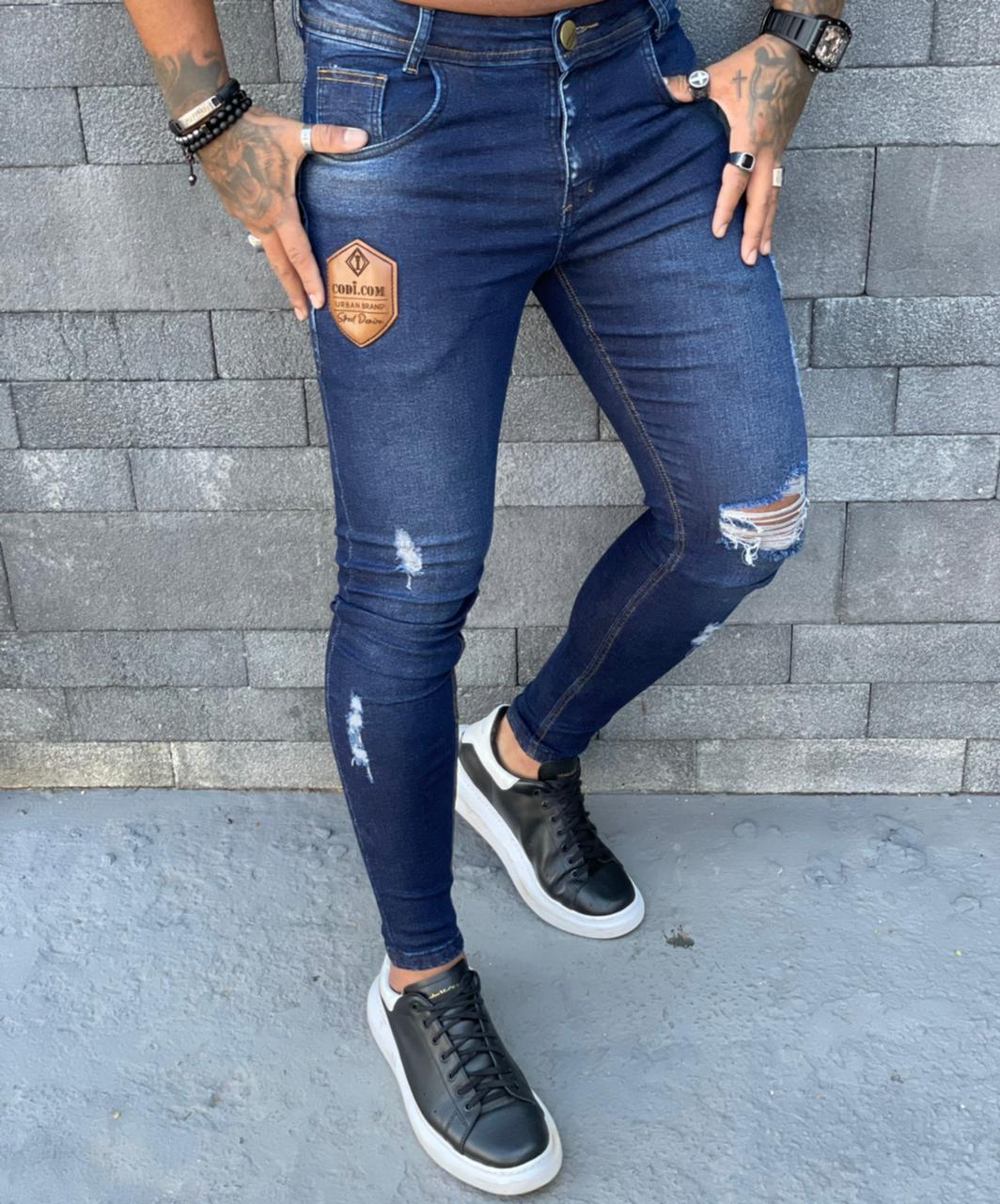 Calça Masculina Codi Skinny Azul Destroyed Detalhe  - Harpia Moda - Moda Masculina & Acessórios