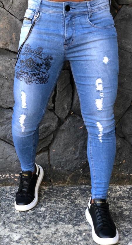 Calça Masculina Codi Skinny Azul Detalhe Corrente  - Harpia Moda - Moda Masculina & Acessórios