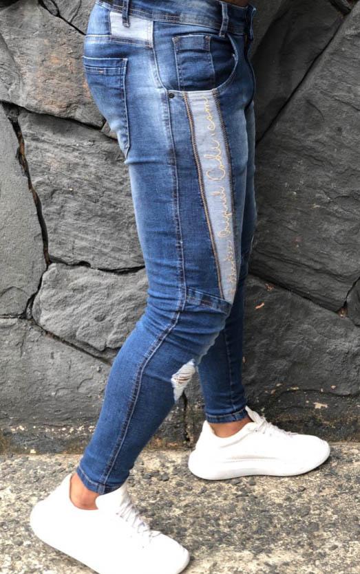 Calça Masculina Codi Skinny Azul Detalhe Faixa  - Harpia Moda - Moda Masculina & Acessórios