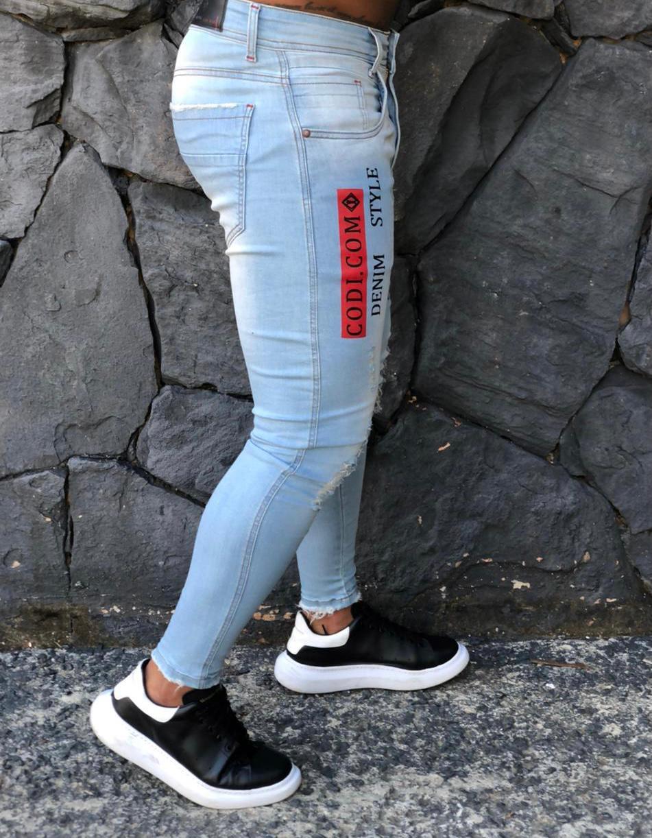 Calça Masculina Codi Skinny Azul Detalhe Vermelho  - Harpia Moda - Moda Masculina & Acessórios