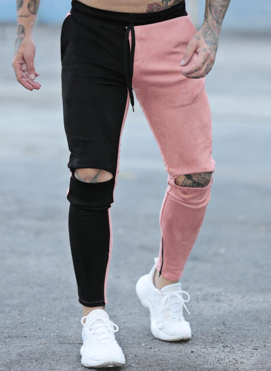 Calça Suede Exalt Urban Rose e Preto  - Harpia Moda - Moda Masculina & Acessórios