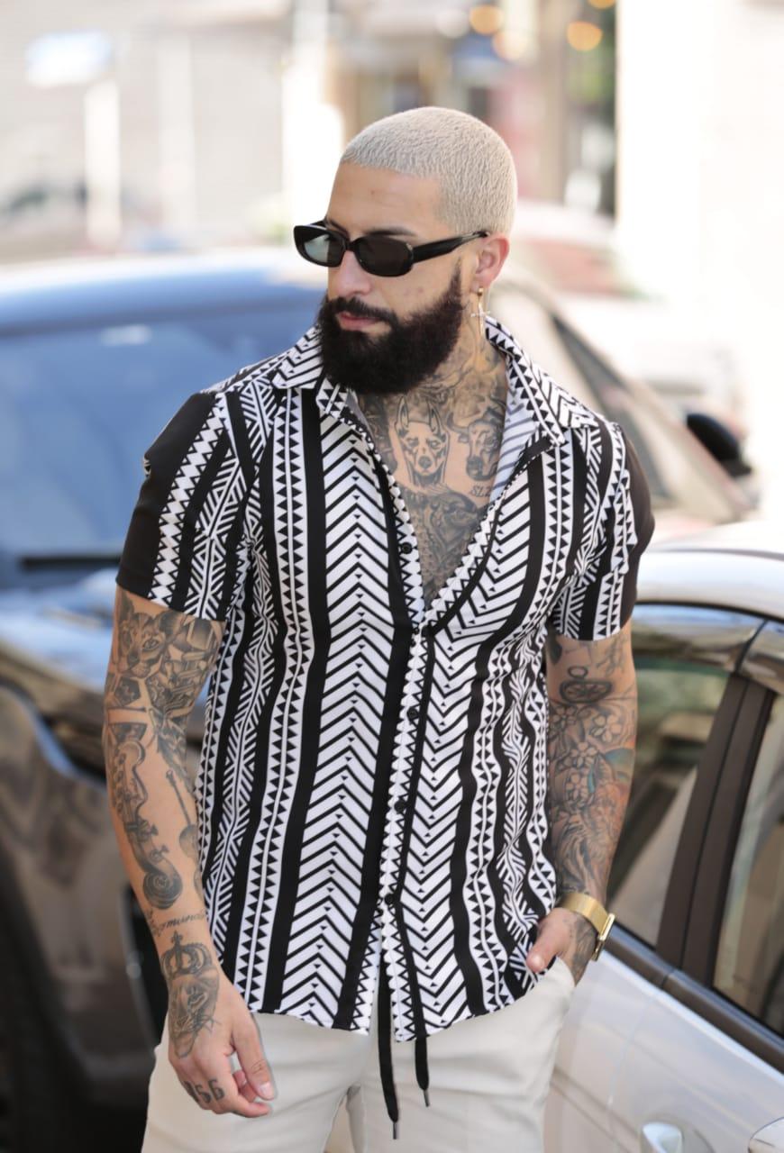 Camisa Botão Exalt Urban Branca Estampada  - Harpia Moda - Moda Masculina & Acessórios