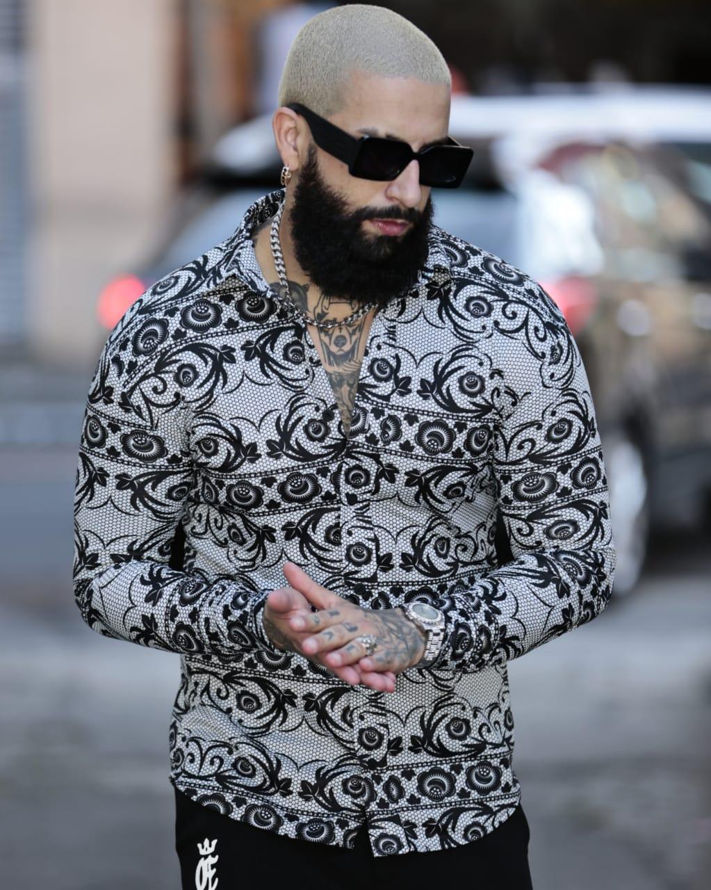 Camisa Botão Exalt Urban Flores Cinza  - Harpia Moda - Moda Masculina & Acessórios