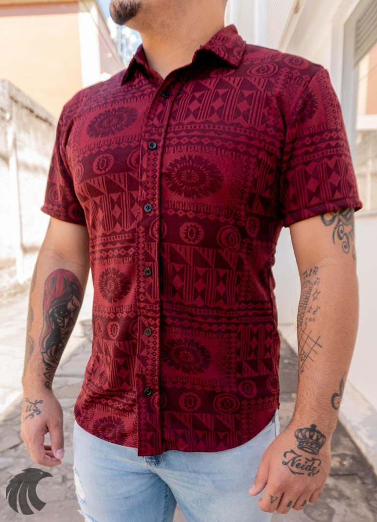 Camisa Botão Exalt Urban Vinho Figuras  - Harpia Moda - Moda Masculina & Acessórios
