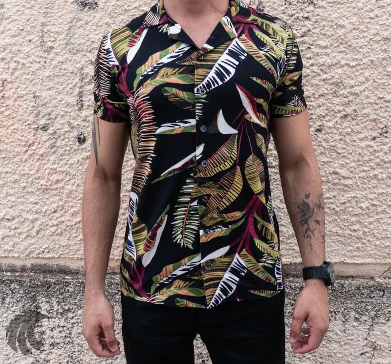 Camisa de Botão Starpolis Preta Folhagem Two  - Harpia Moda - Moda Masculina & Acessórios