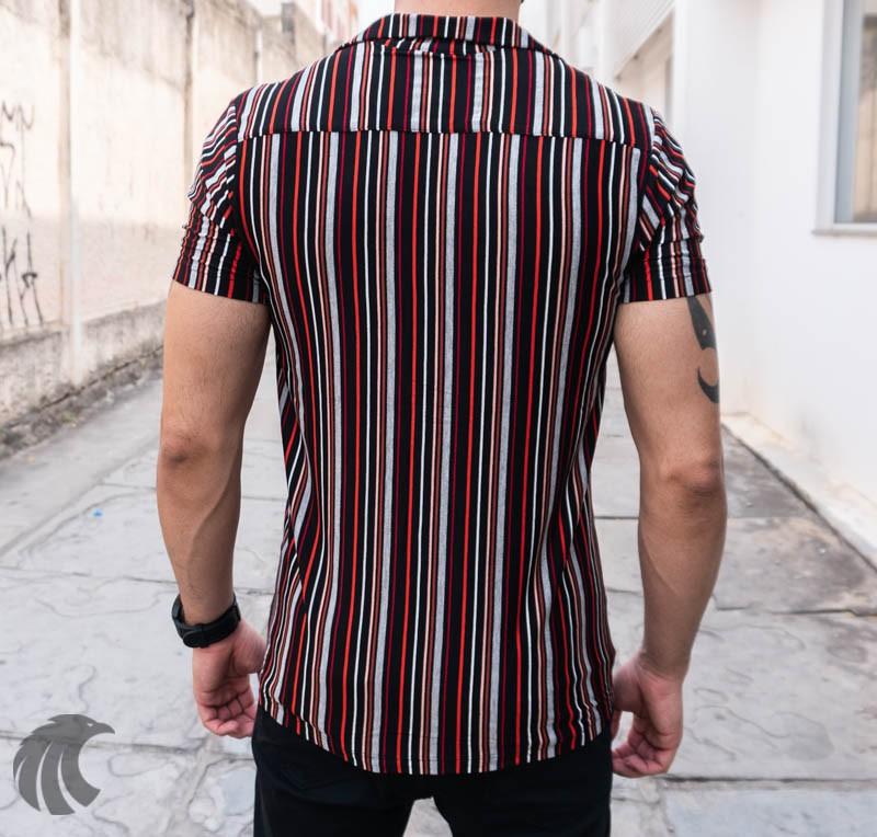 Camisa de Botão Starpolis Preta Linhas  - Harpia Moda - Moda Masculina & Acessórios