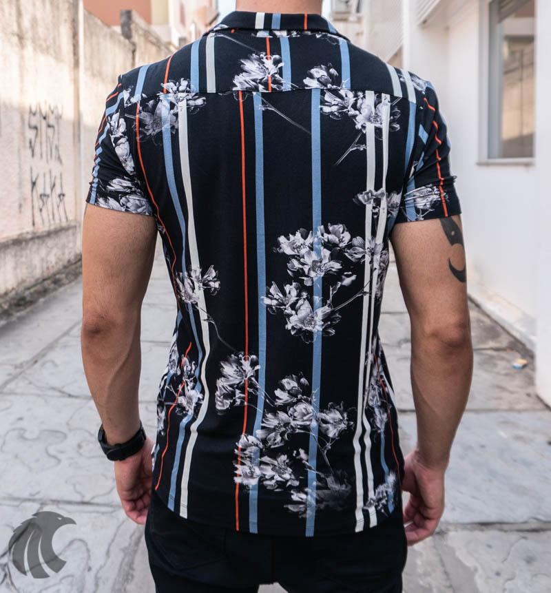 Camisa de Botão Starpolis Preta Linhas e Flores   - Harpia Moda - Moda Masculina & Acessórios