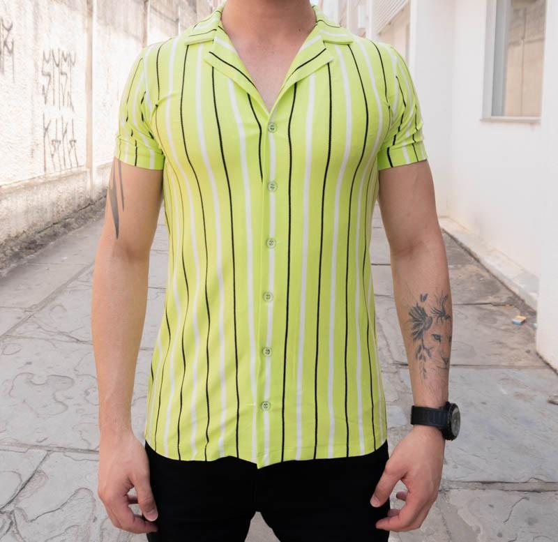 Camisa de Botão Starpolis Verde Faixas Preta  - Harpia Moda - Moda Masculina & Acessórios