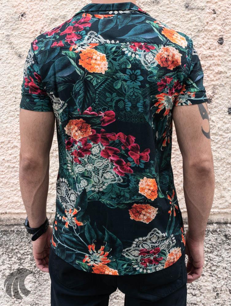 Camisa de Botão Starpolis Verde Florais Laranja  - Harpia Moda - Moda Masculina & Acessórios