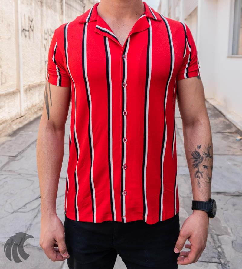 Camisa de Botão Starpolis Vermelha Faixas  - Harpia Moda - Moda Masculina & Acessórios