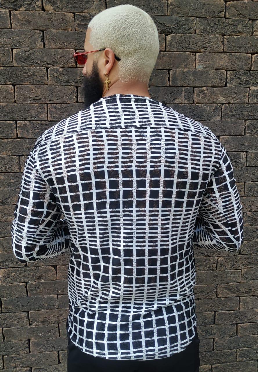 Camisa Manga Longa Exalt Black Checkered  - Harpia Moda - Moda Masculina & Acessórios