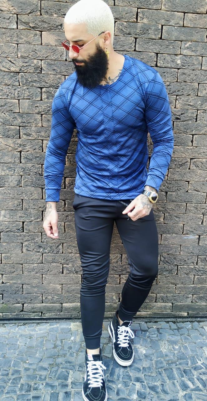 Camisa Manga Longa Exalt Blue  - Harpia Moda - Moda Masculina & Acessórios