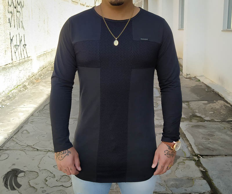 Camisa Manga Longa Kawippi Preta Cruz  - Harpia Moda - Moda Masculina & Acessórios