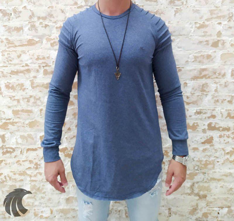Camisa Manga Longa M Artt Azul Detalhes Ombro  - Harpia Moda - Moda Masculina & Acessórios