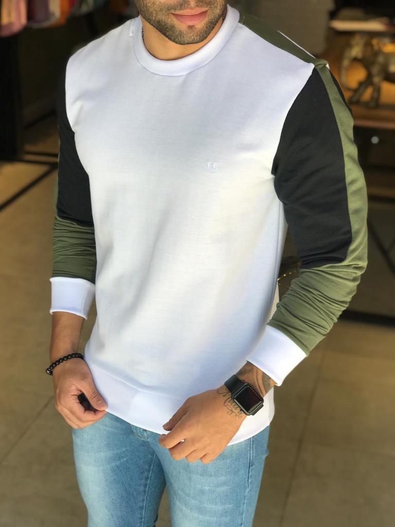 Camisa Manga Longa M Artt Branca Detalhes Verde e Preto  - Harpia Moda - Moda Masculina & Acessórios