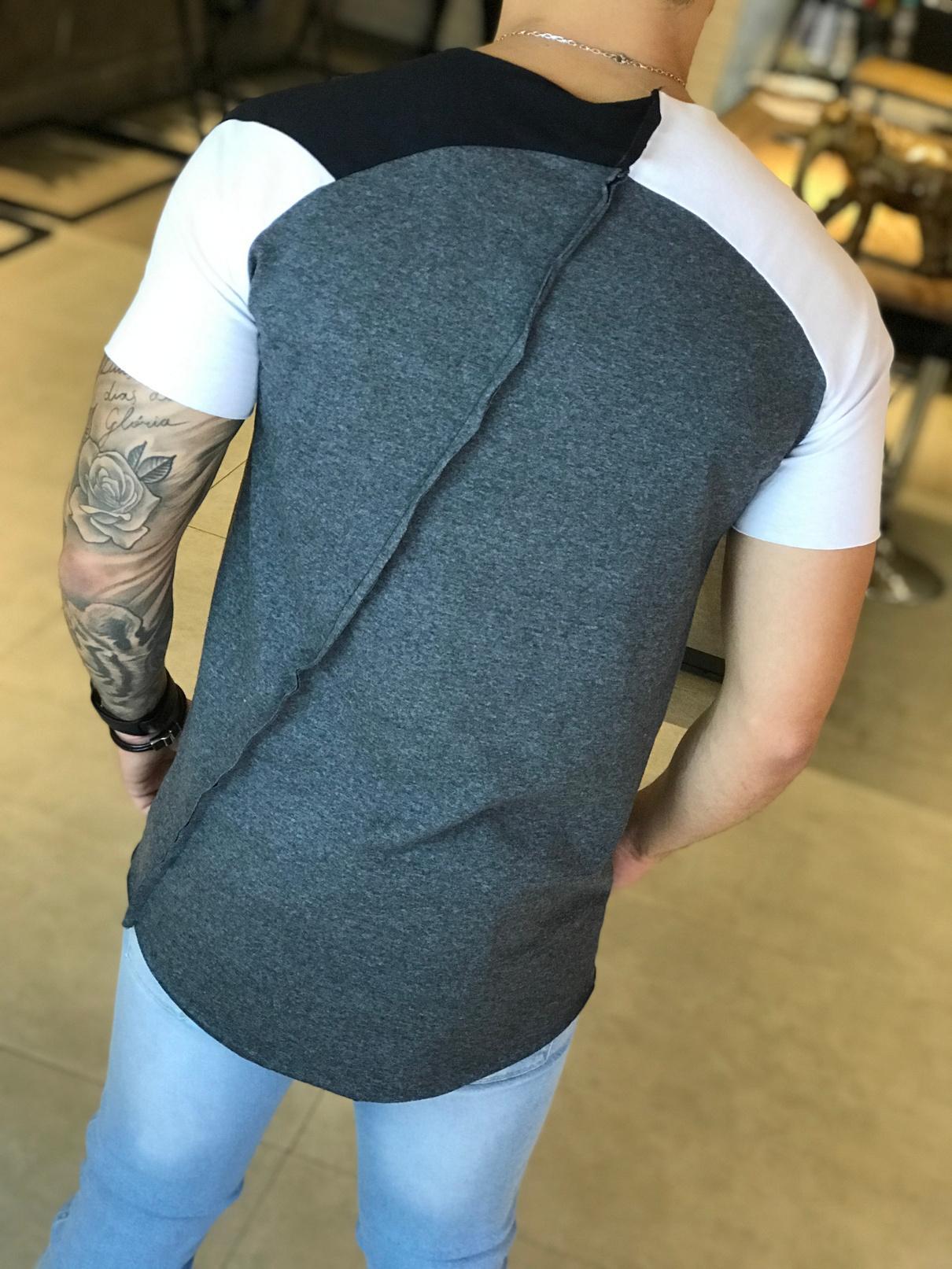 Camisa Manga Longa M Artt Cinza Detalhe Costas  - Harpia Moda - Moda Masculina & Acessórios