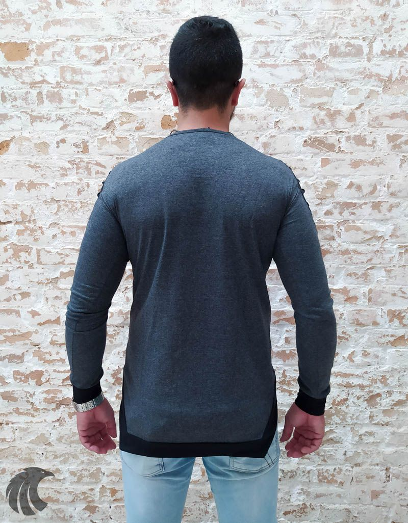 Camisa Manga Longa M Artt Cinza Detalhes Ombro  - Harpia Moda - Moda Masculina & Acessórios