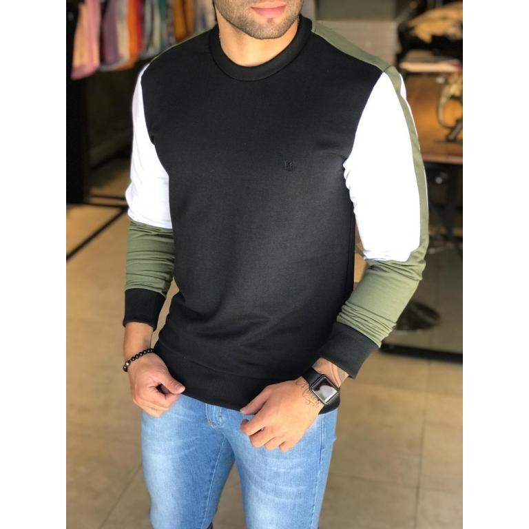 Camisa Manga Longa M Artt Preta Detalhes Verde e Branco  - Harpia Moda - Moda Masculina & Acessórios