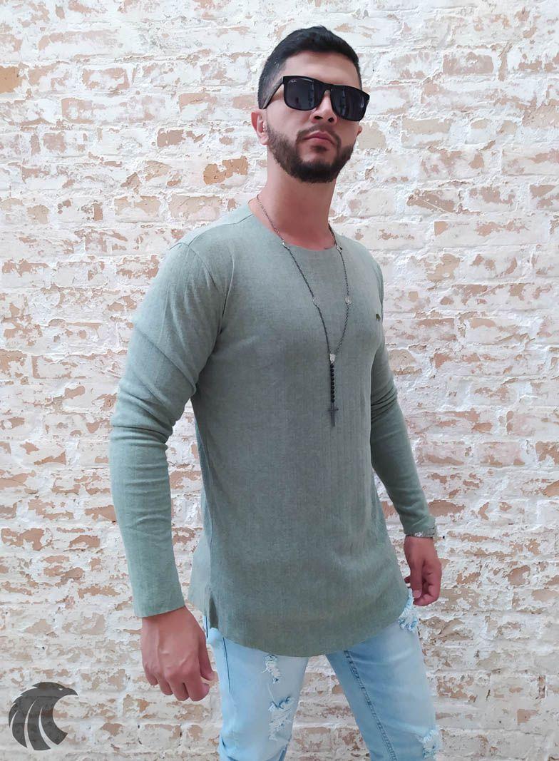 Camisa Manga Longa M Artt Verde Claro  - Harpia Moda - Moda Masculina & Acessórios