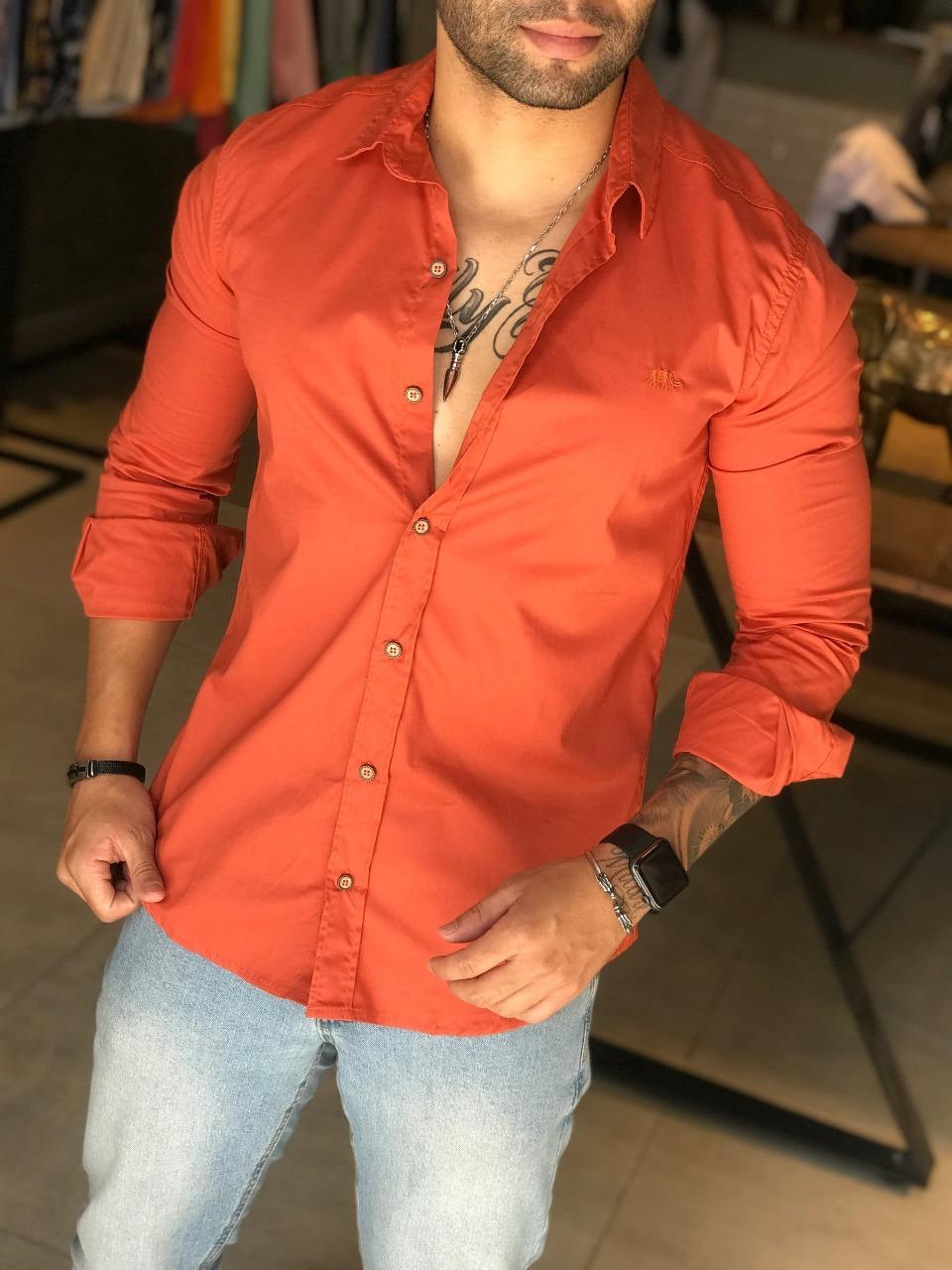 Camisa Social Slim M Artt Laranja Queimado  - Harpia Moda - Moda Masculina & Acessórios