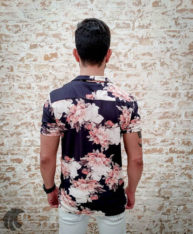 Camisa Starpolis Black Light Flowers  - Harpia Moda - Moda Masculina & Acessórios