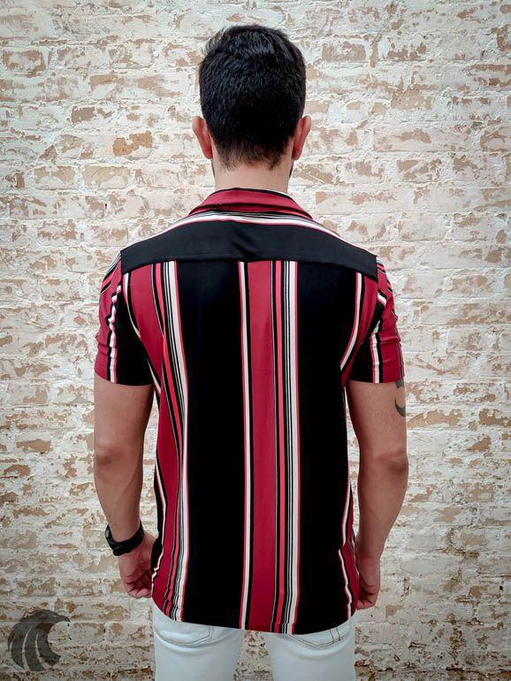 Camisa Starpolis Vermelha e Linhas Pretas  - Harpia Moda - Moda Masculina & Acessórios
