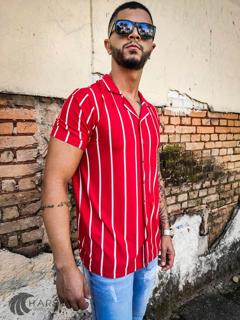 Camisa Starpolis Red Stripes  - Harpia Moda - Moda Masculina & Acessórios