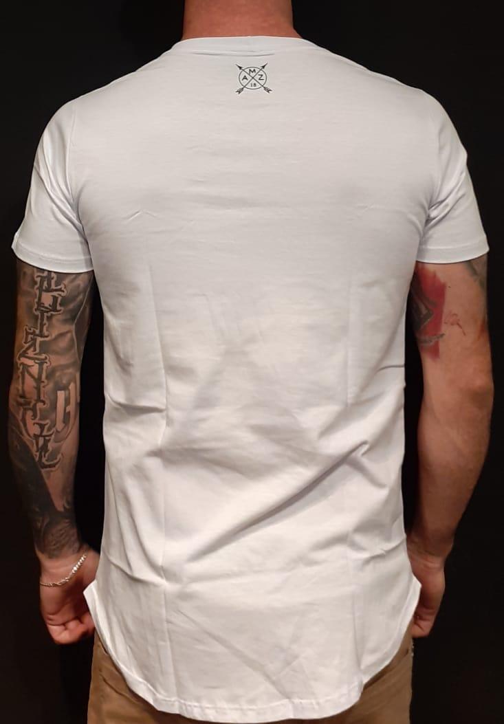 Camiseta Amazing Long Line Flower Life Black  - Harpia Moda - Moda Masculina & Acessórios