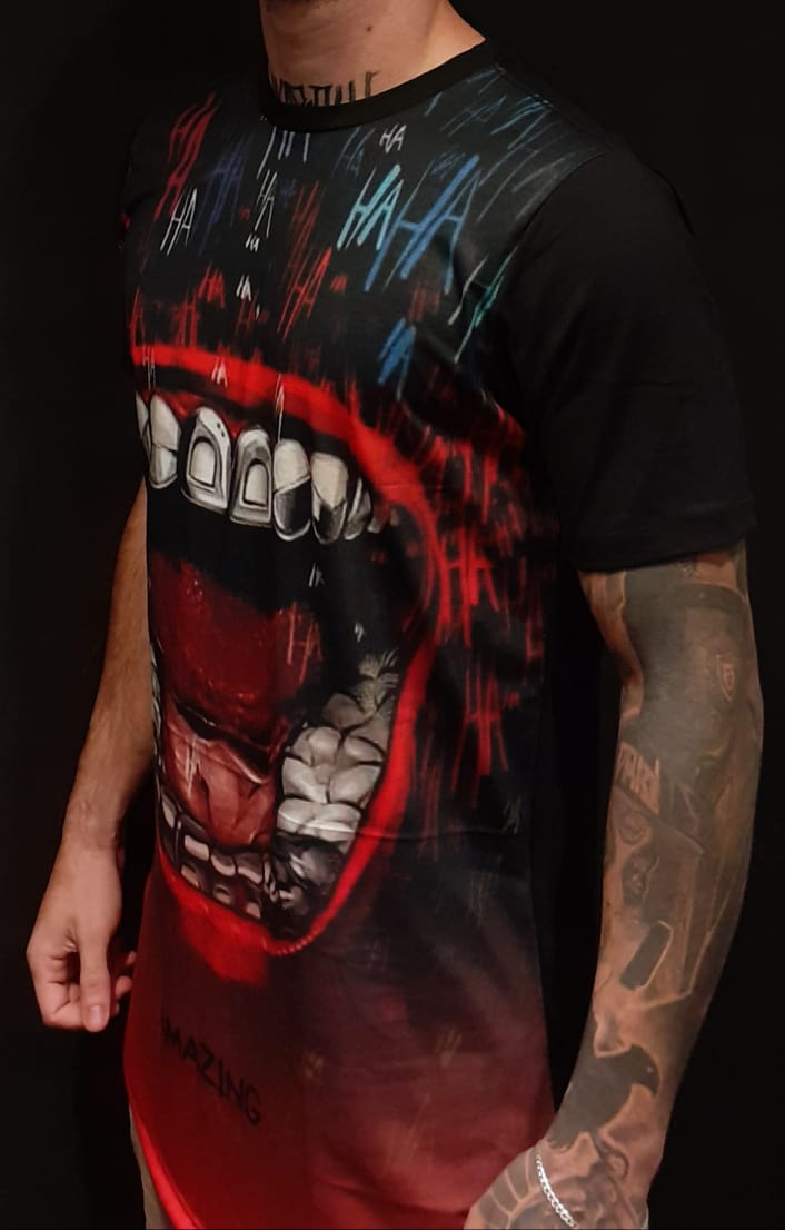 Camiseta Amazing Long Line Hungry Mouth Black  - Harpia Moda - Moda Masculina & Acessórios