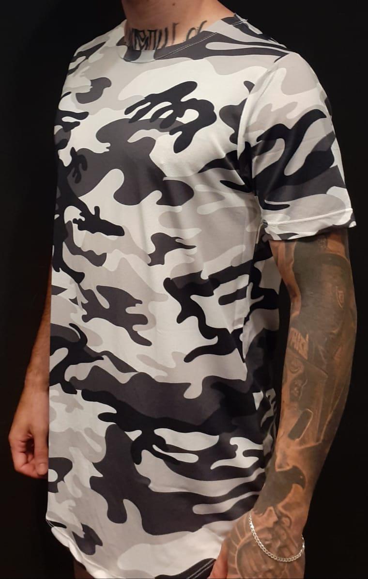 Camiseta Amazing Long Line White Camouflage  - Harpia Moda - Moda Masculina & Acessórios