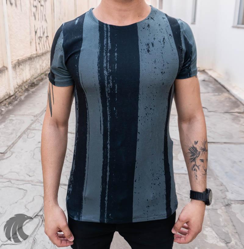 Camiseta Austin Club Cinza Escuro Faixas   - Harpia Moda - Moda Masculina & Acessórios