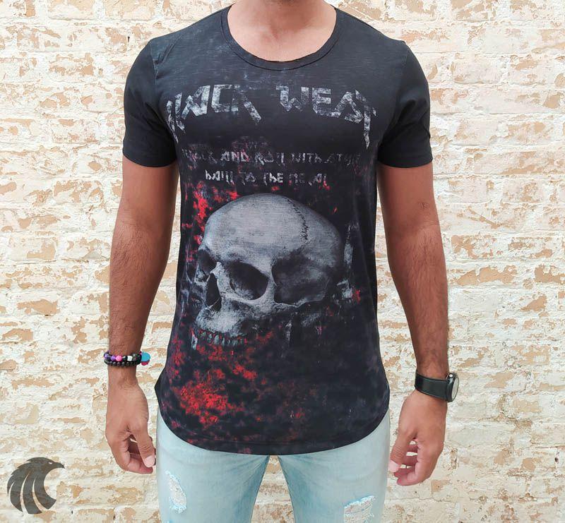 Camiseta Black West Preta Death Skull  - Harpia Moda - Moda Masculina & Acessórios