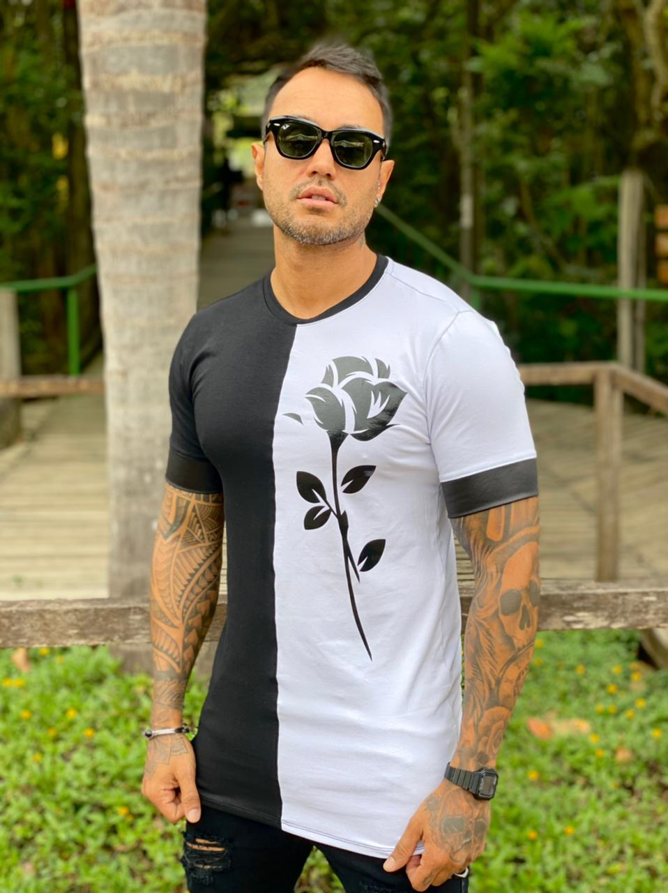 Camiseta Branca e Preta Detalhe Rosa Line Premium Volk Culture  - Harpia Moda - Moda Masculina & Acessórios
