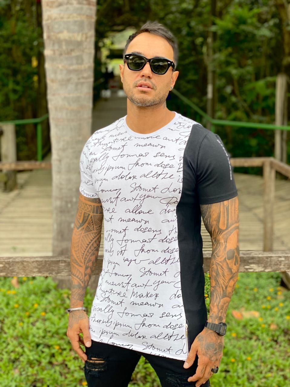 Camiseta Branca Palavras Line Premium Volk Culture  - Harpia Moda - Moda Masculina & Acessórios