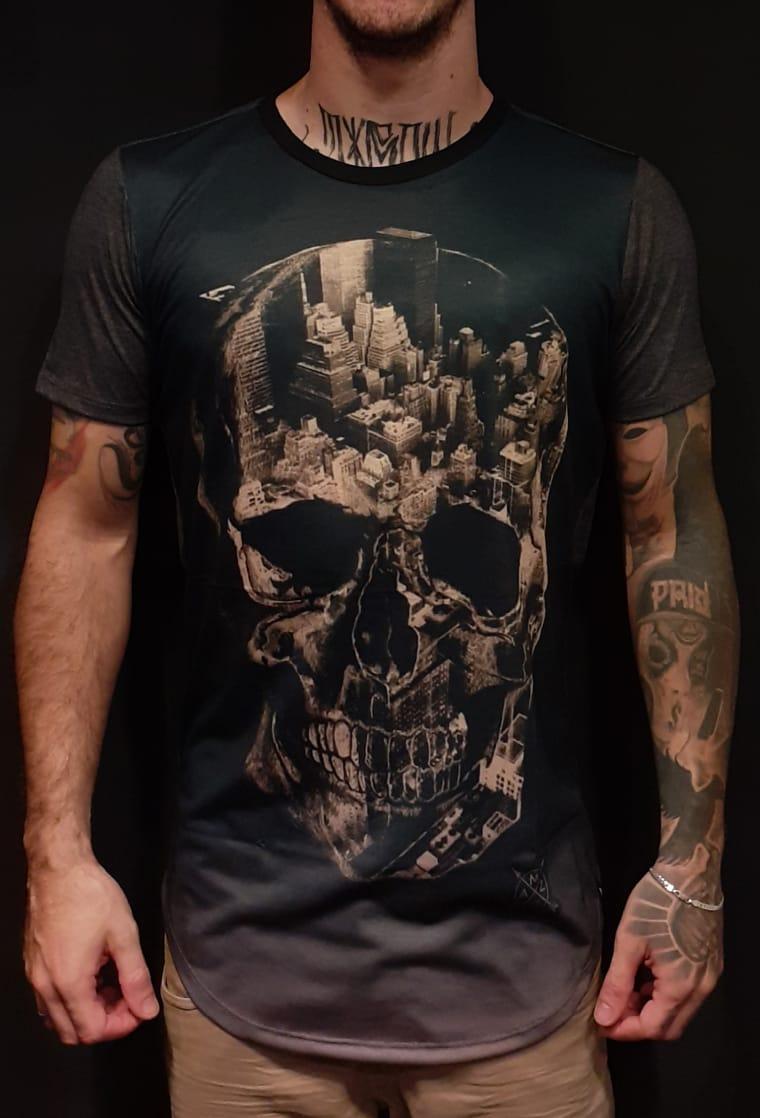 Camiseta Amazing Grey Corroded Skull  - Harpia Moda - Moda Masculina & Acessórios
