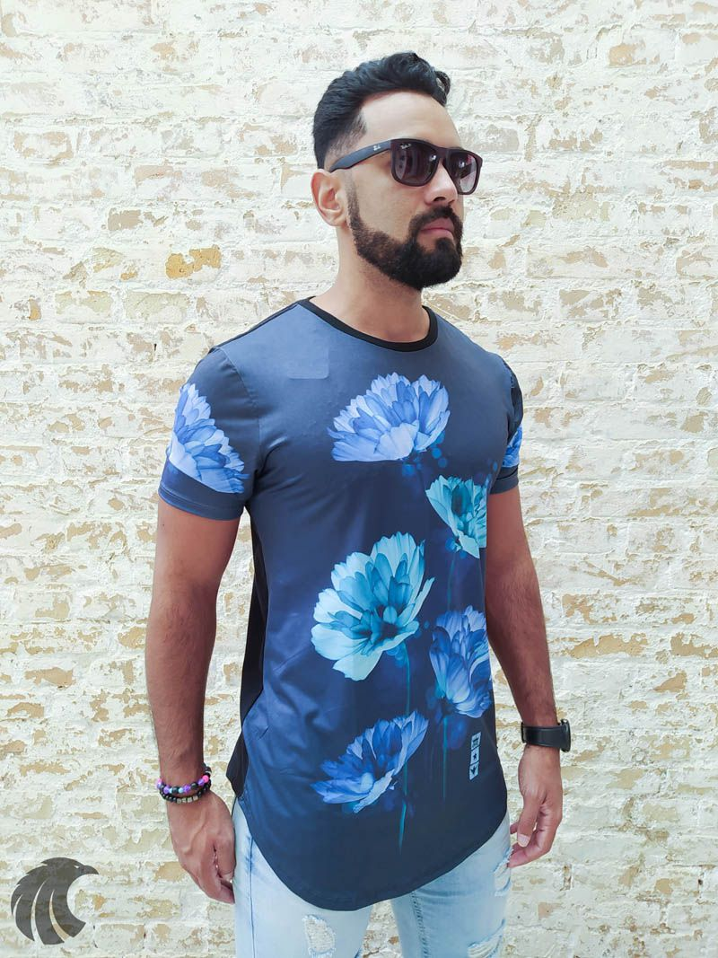 Camiseta Evoque Black Blue Flower  - Harpia Moda - Moda Masculina & Acessórios