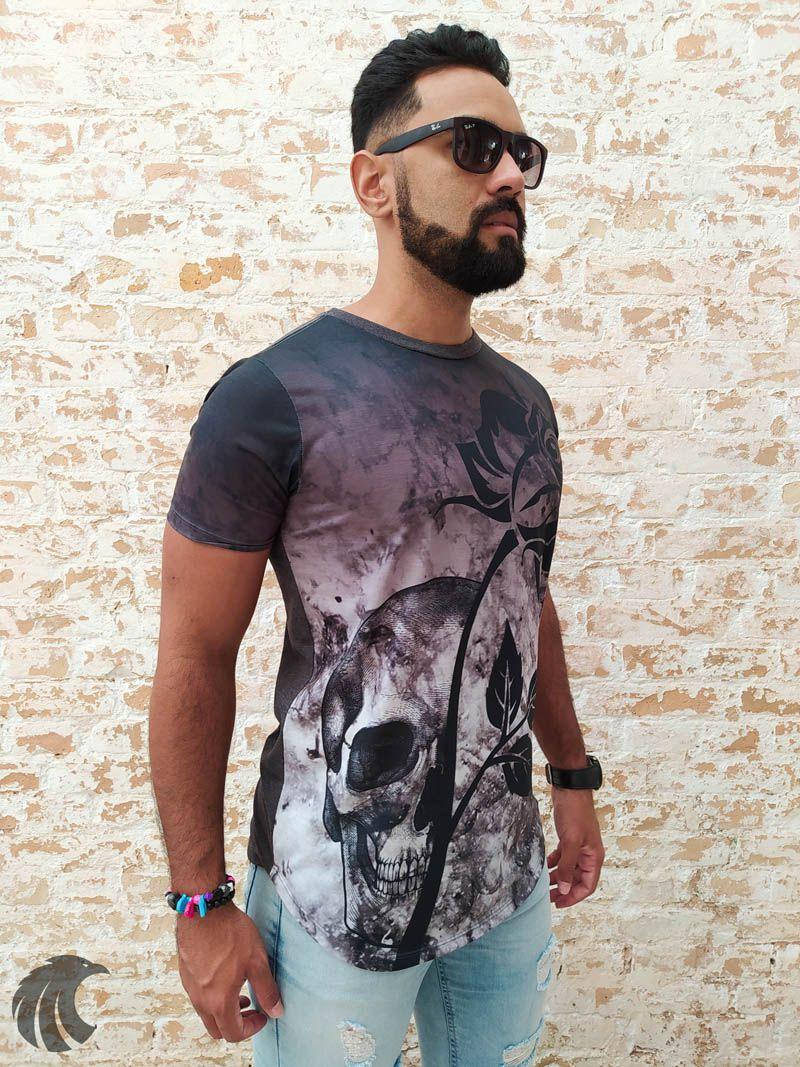 Camiseta Evoque Black Flower and Skull  - Harpia Moda - Moda Masculina & Acessórios
